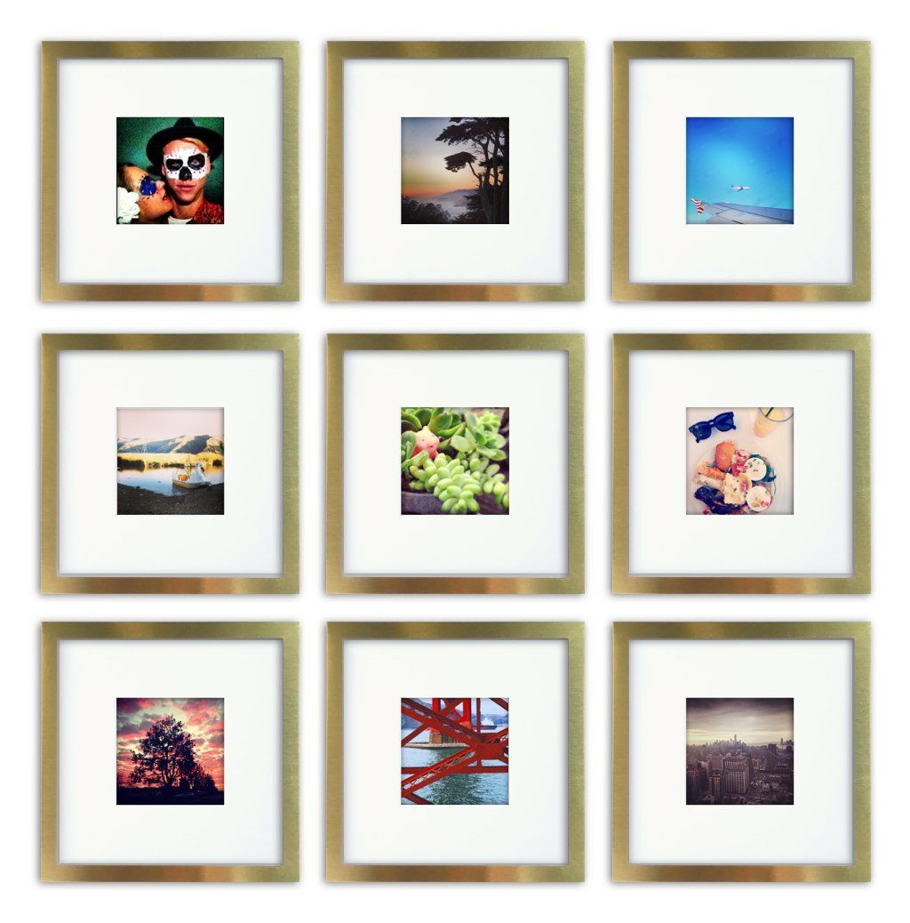 Brushed Metal, Square Instagram Photo Frame, 8x8 (4x4 Matted) (9 ...