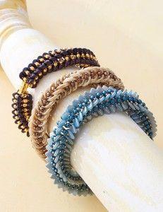 Nichole Starman - Paradox Bracelet | CzechMates 2-Hole Lentil, Crescent, or Triangle Beads | Beadwork Magazine, April/May 2016