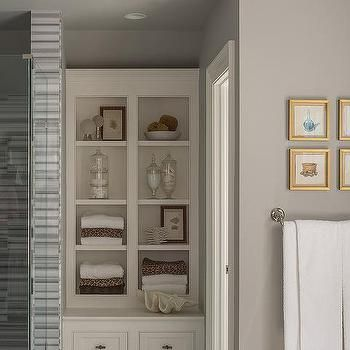 Gray And Gold Bathroom With Built In Shelves