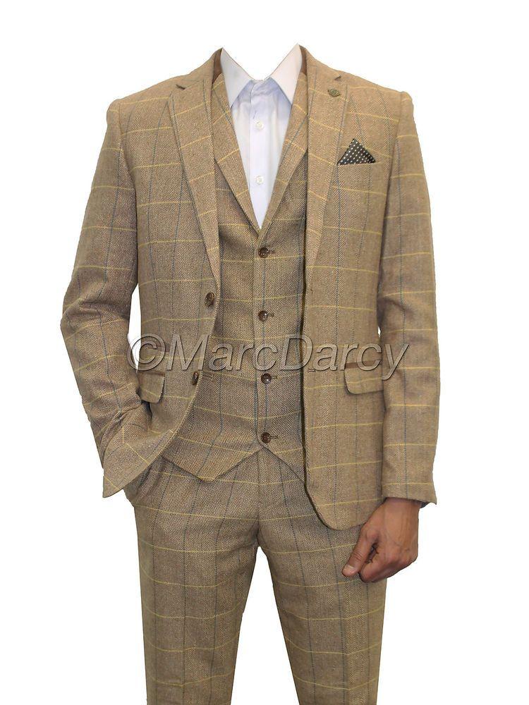 Marc Darcy Mens Check Vintage Herringbone Tweed Light Brown Oak 3 Piece Suit Slim Fit