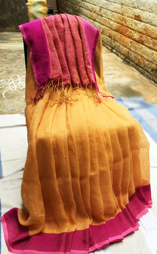 Mango yellow linen saree with dual pink border! | Rustic Elegance ...