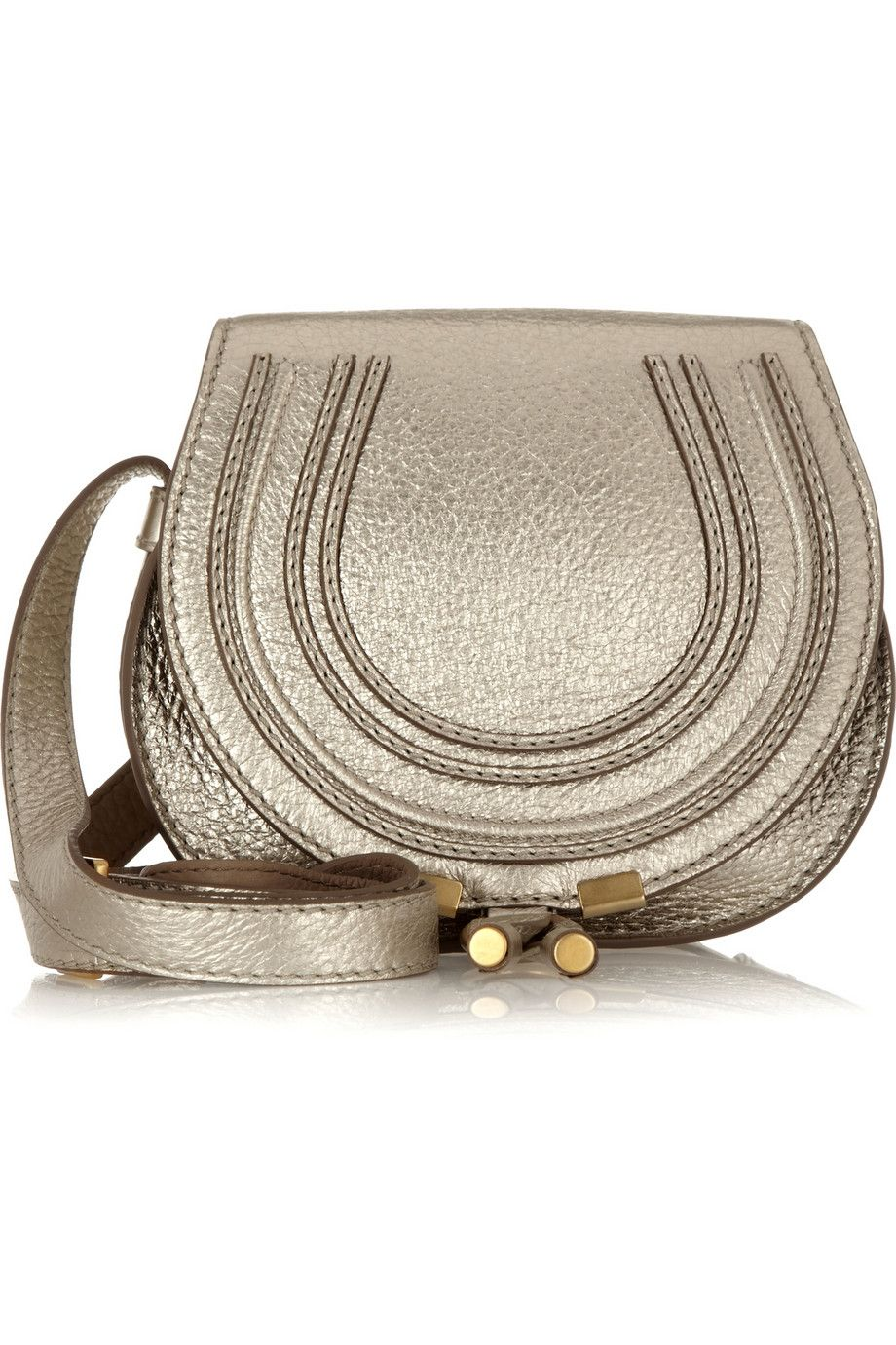 Chloé's coveted 'Marcie' bag has been reworked in gold textured-leather this season. It features the label's unique topstitching and will carry all your essentials without feeling bulky. There's even a hidden front pocket that's ideally sized for your cell.