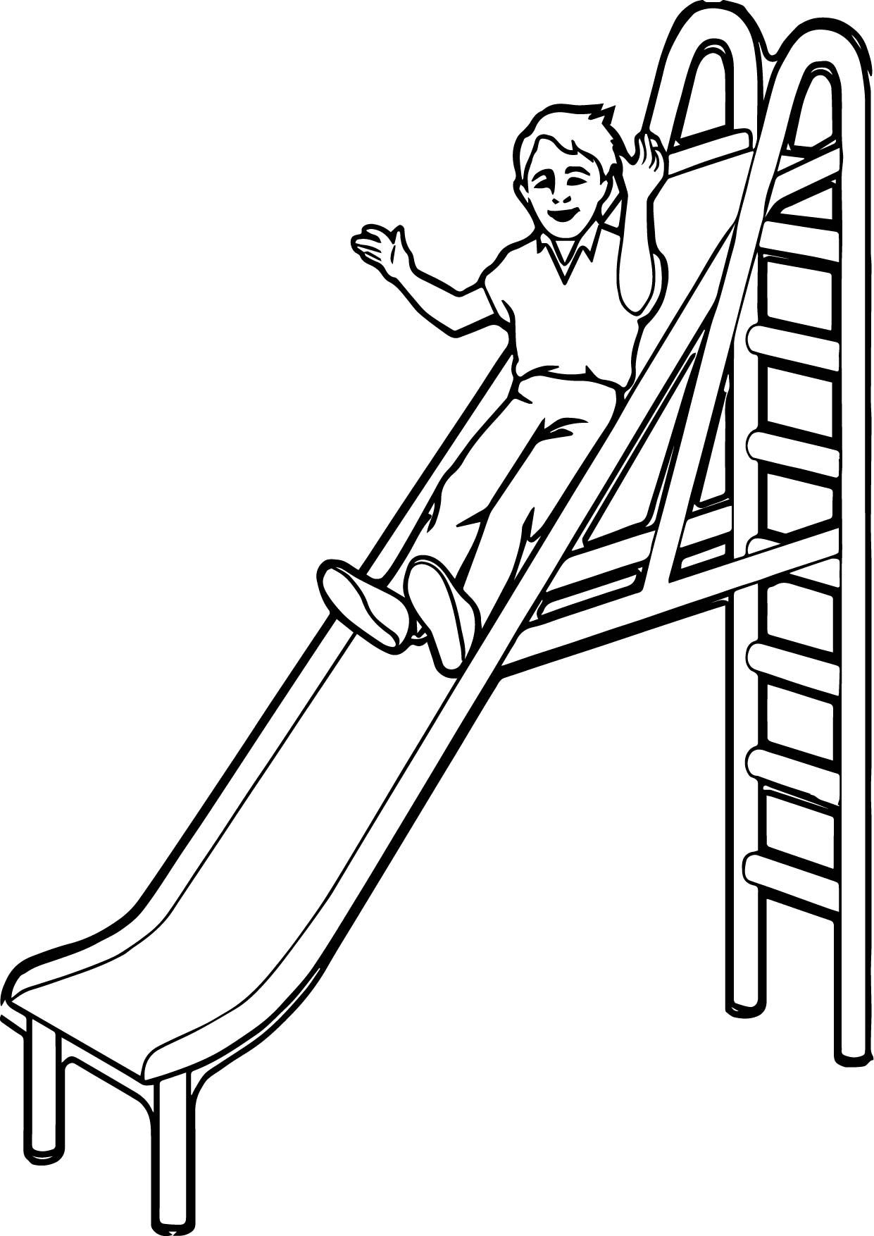 awesome Playground Slide Kid Coloring Page