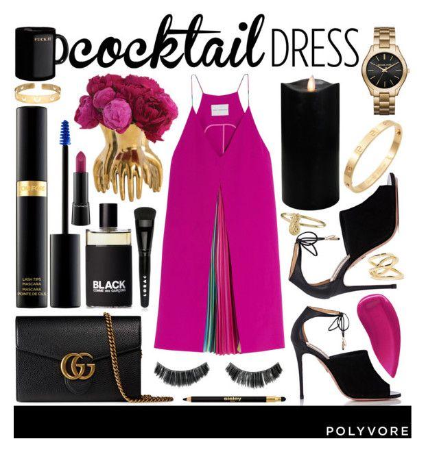 """#cocktaildress"" by julietacelina ❤ liked on Polyvore featuring Mary Katrantzou, Arteriors, Michael Kors, Aquazzura, Boston Warehouse, Gucci, Tom Ford, Cachet, LORAC and Sisley Paris"