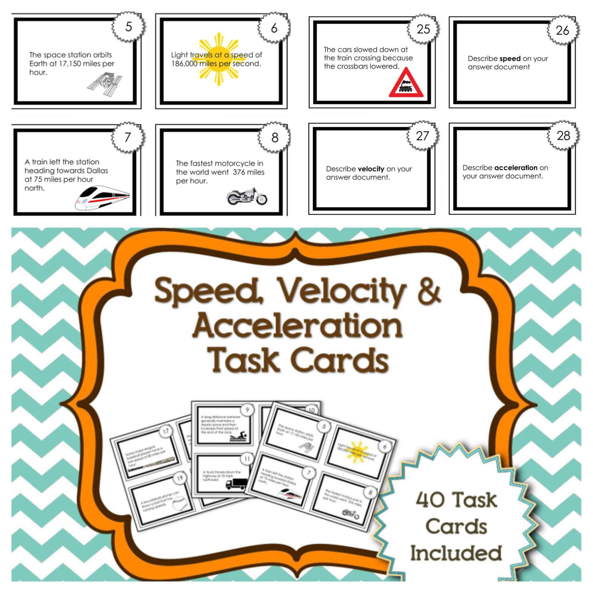 Task Cards For Speed Velocity And Acceleration Kesler Science Speed Velocity Acceleration Task Cards Velocity