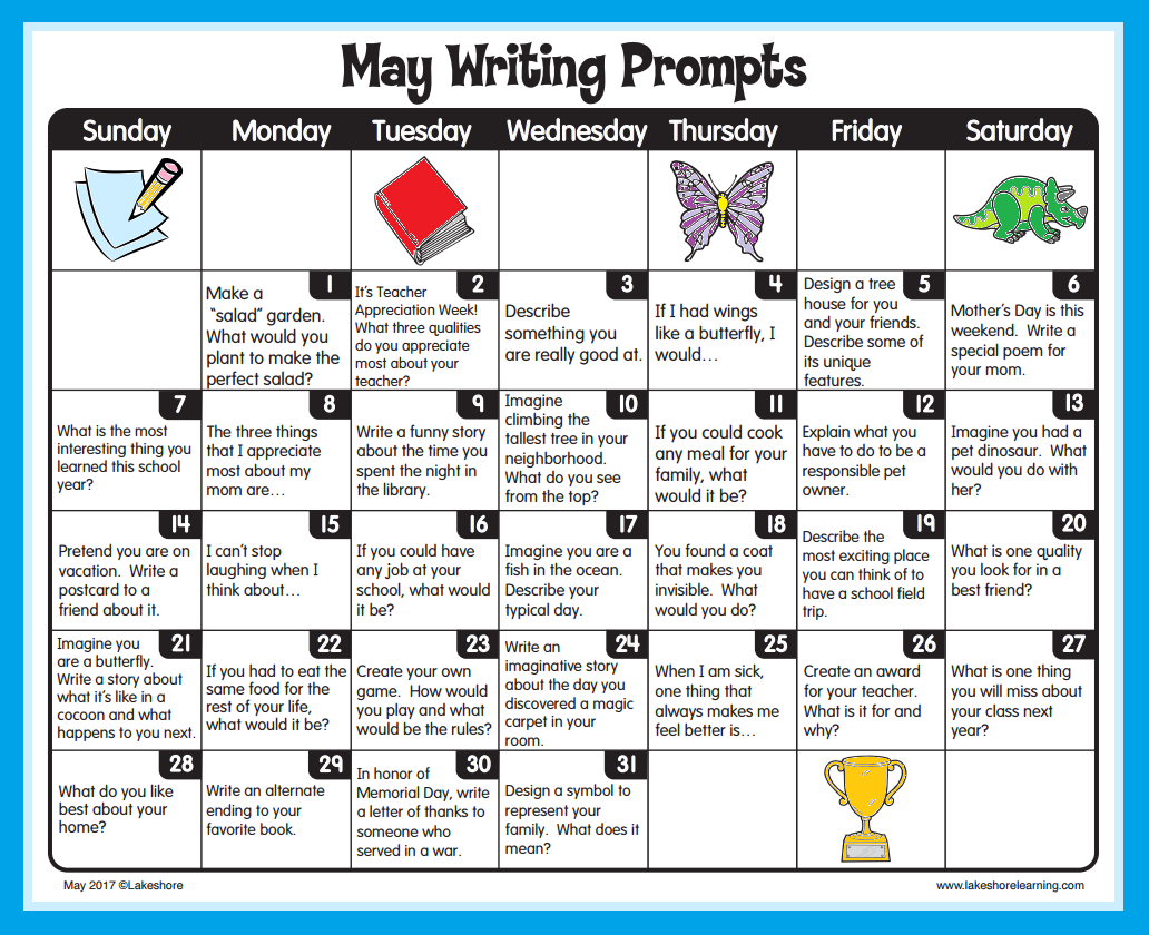 May Writing Prompts From Lakeshore Learning Visit