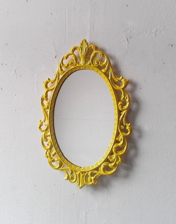 Yellow Princess Mirror In Vintage Metal Frame Ornate Oval 10 By 7 Inch Framed Home Decorating Ideas