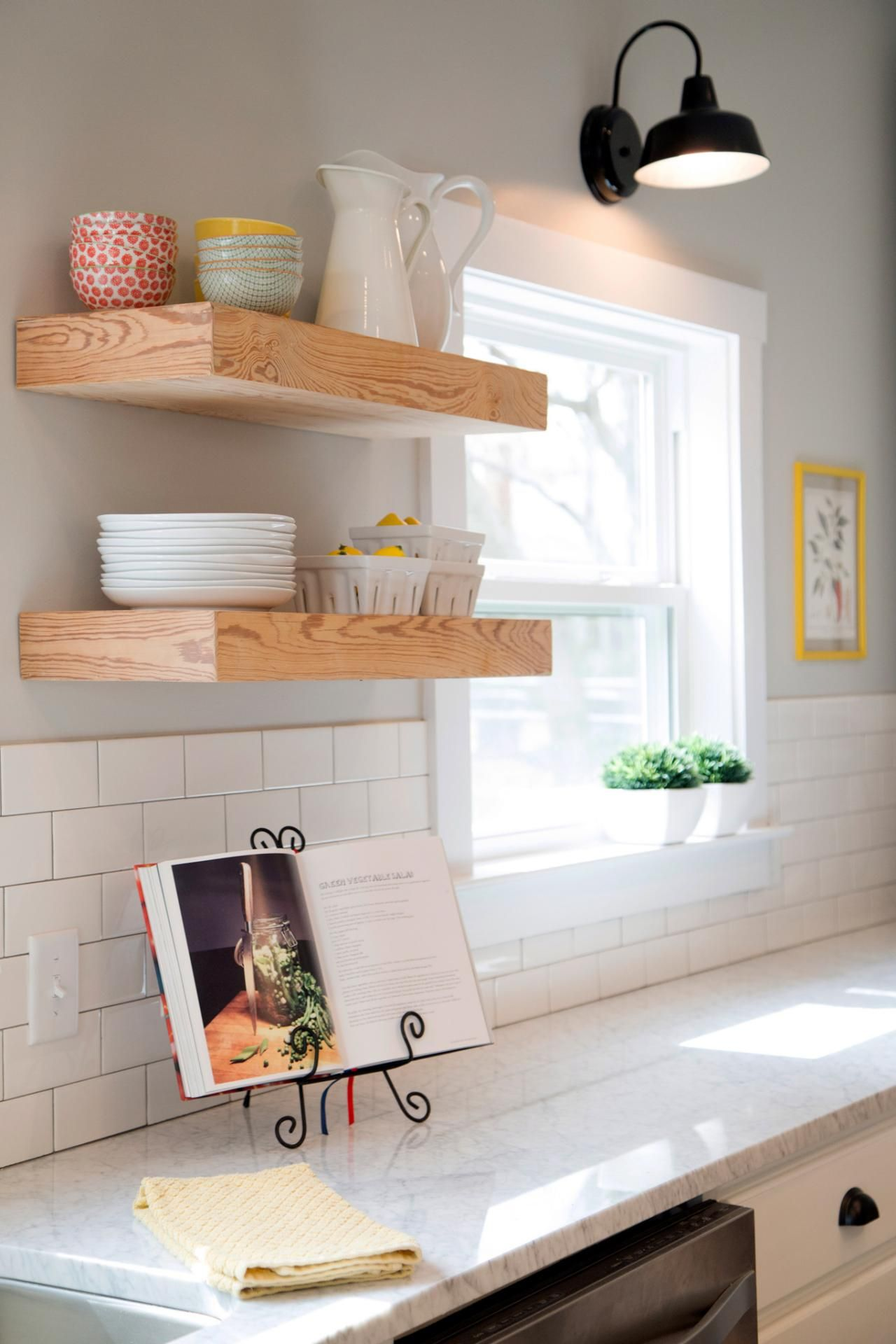 Fixer Upper Tackling The Beast Floating Shelves Kitchen