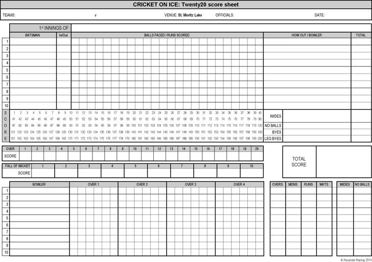 Cricket Score Sheet Excel 9  | Templates | Cricket score, Volleyball
