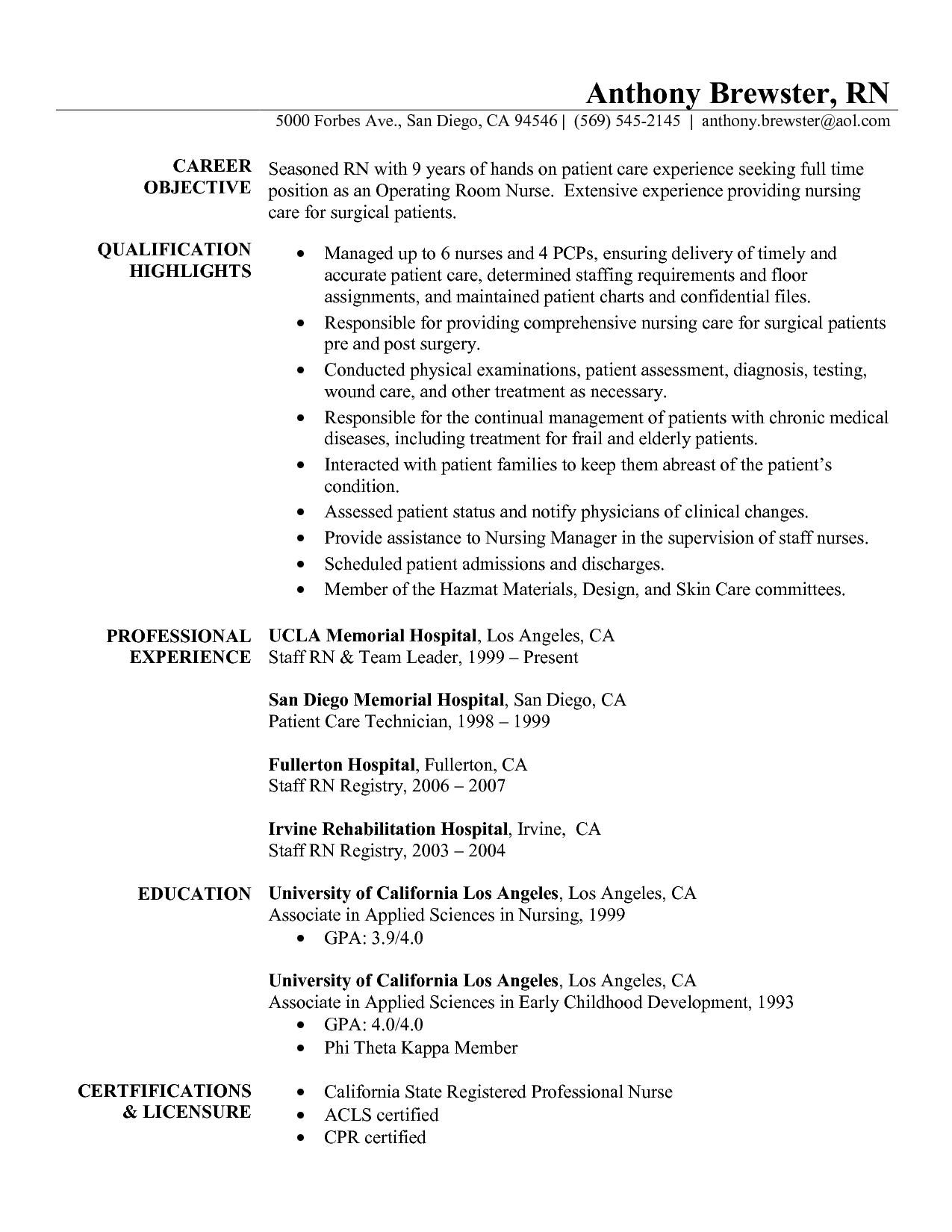 Curriculum Vitae Template Nurse