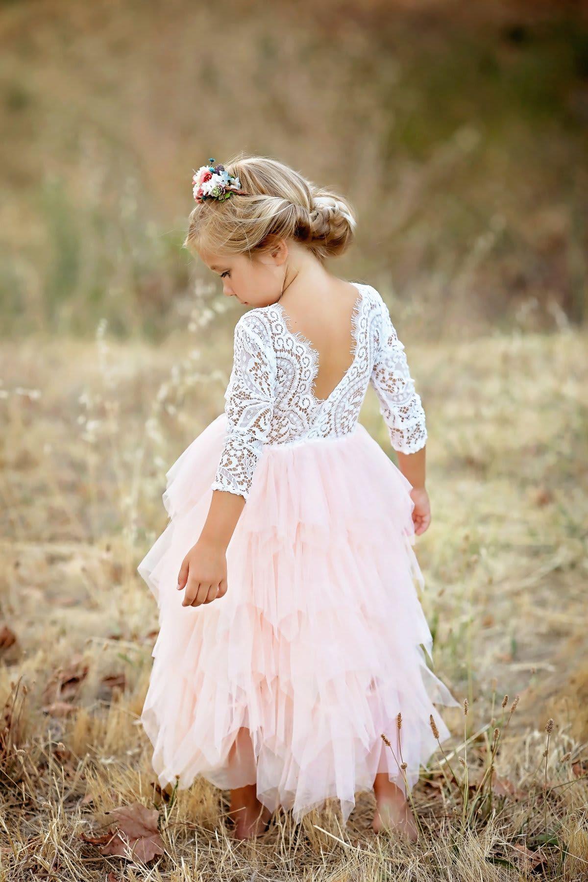 Girls Lace & Tulle Dress  Cute flower girl dresses, Flower girl