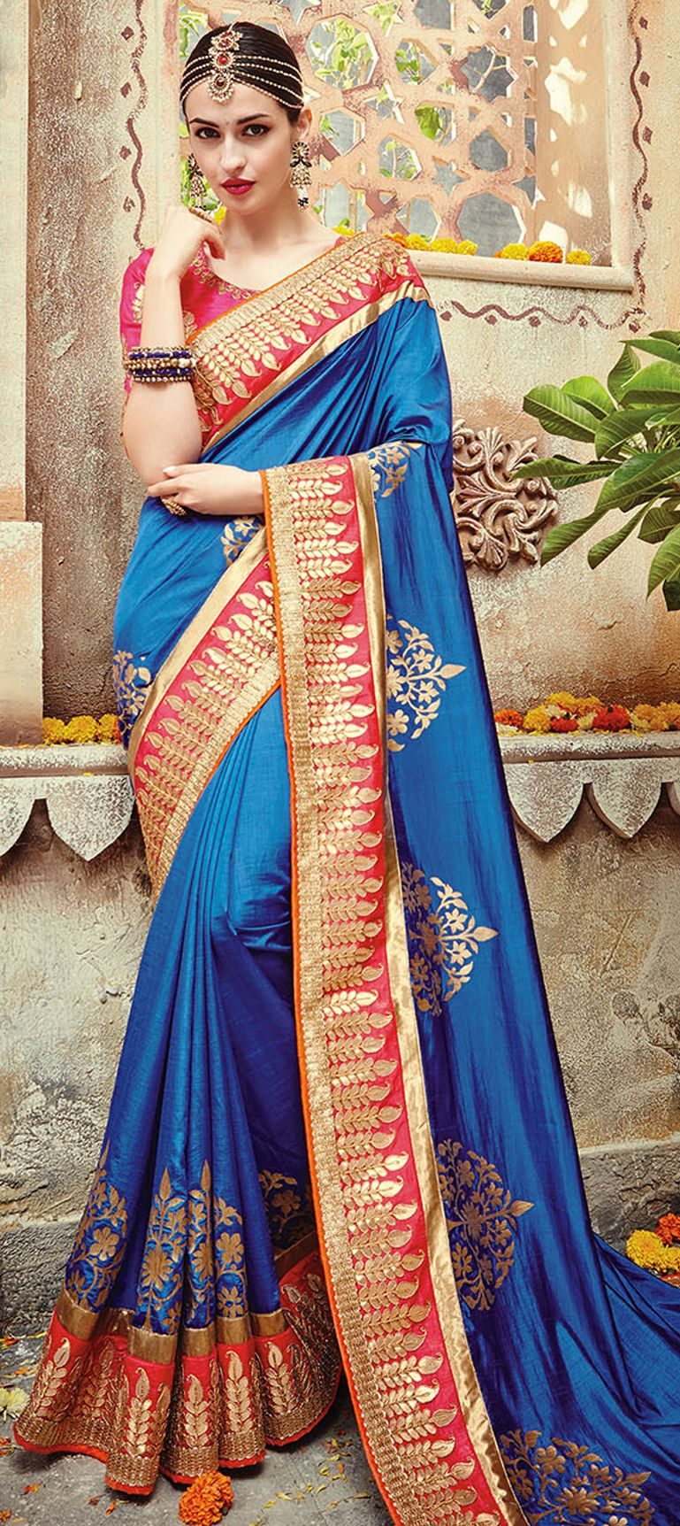 blue color family embroidered sarees silk sarees with