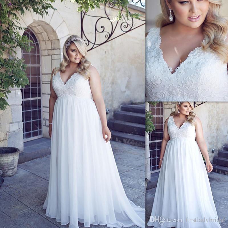 2016 Plus Size Wedding Dresses Deep V Neck Lace Top White Chiffon ...