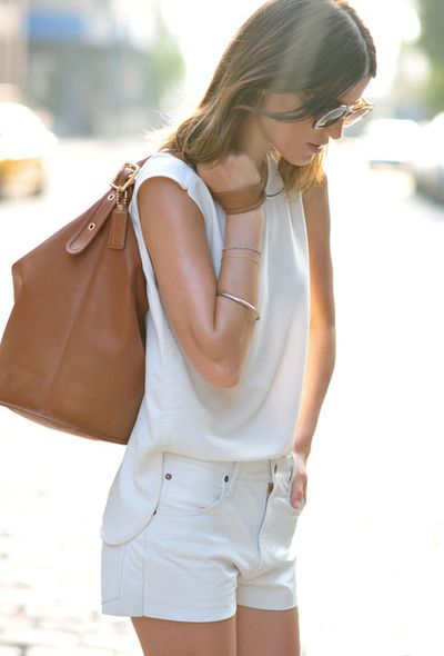 White white #shorts #top #brown #leather