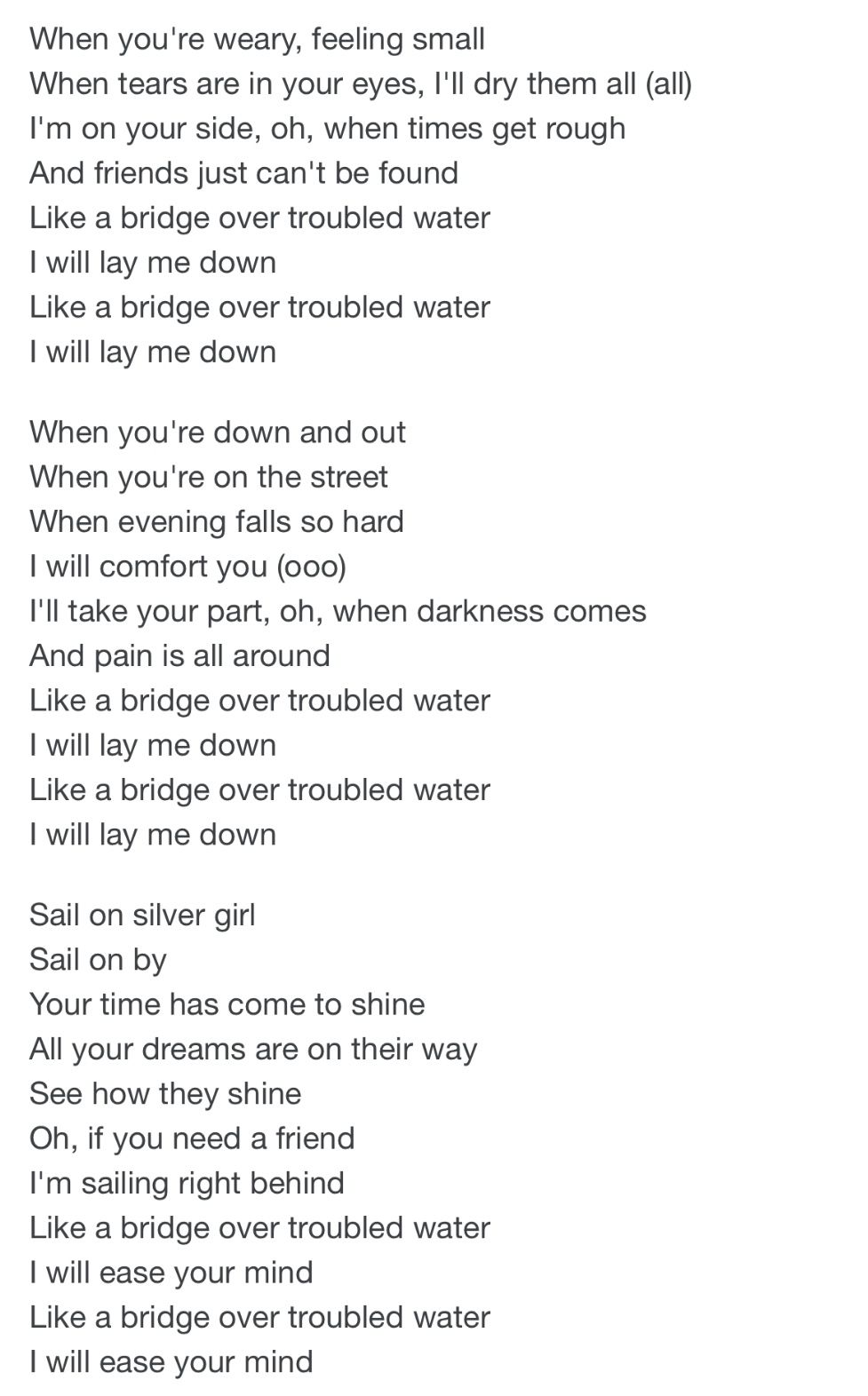 Pin By On Song Lyrics Bridge Over Troubled Water Lay Me Down Song Lyrics