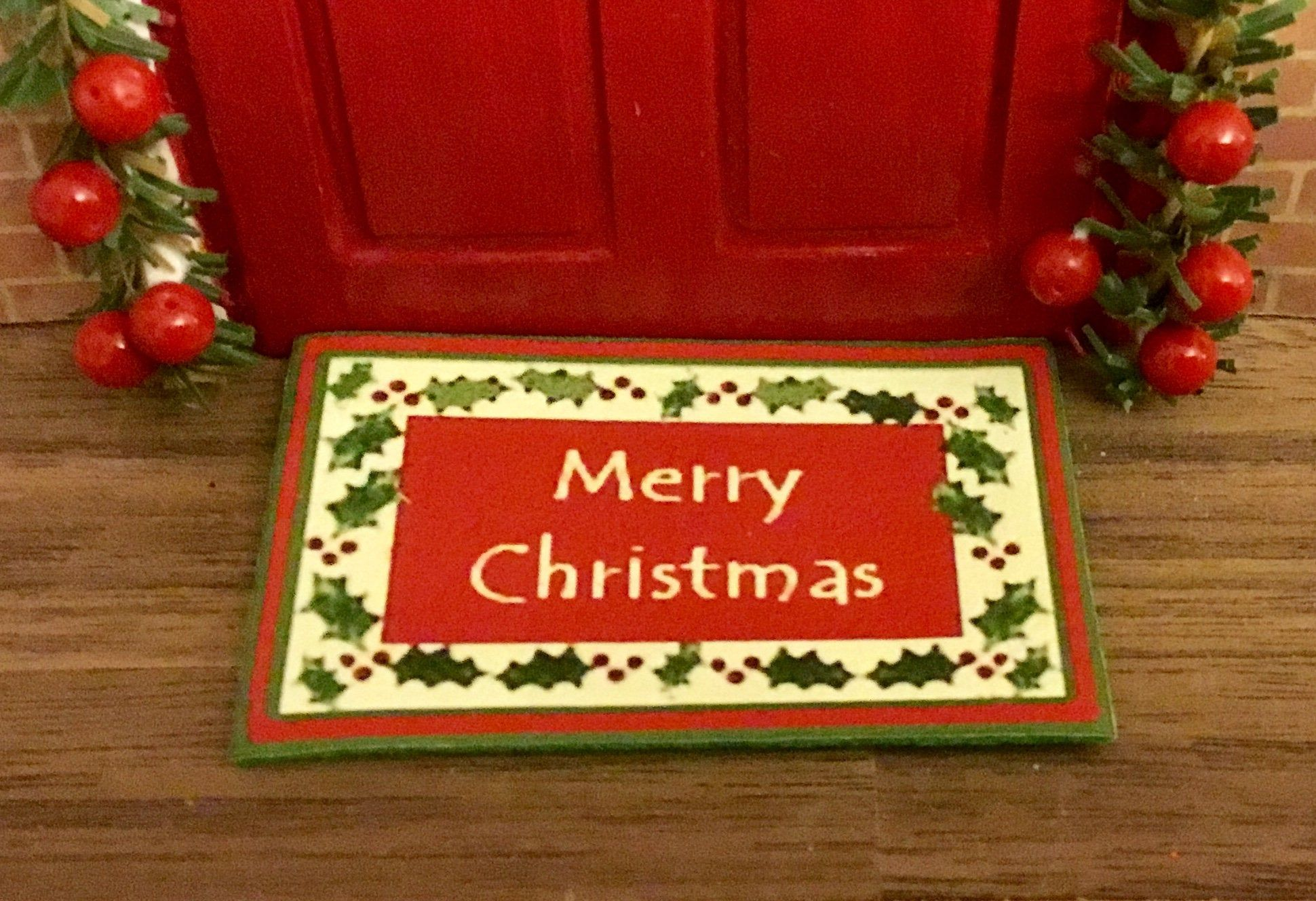 Dollhouse Miniature MerryChristmas Welcome Mat. 1:12 Scale by MiniFunTimes on Etsy