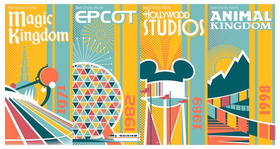 Walt Disney World Four Park 16x30 Giclee Etsy Retro Disney Disney Posters Walt Disney World