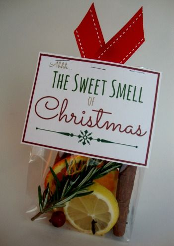 Christmas scent made with fresh ingredients.  FREE Printable Label.  This would be a great neighbor gift! #homemadechristmasgifts