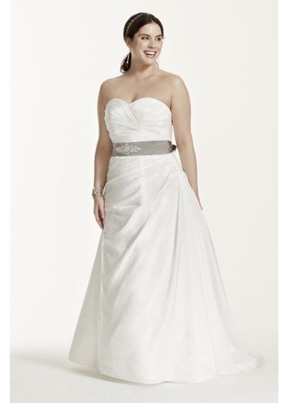 Taffeta Ruched A Line Plus Size Wedding Dress 9wg3243 Wedding