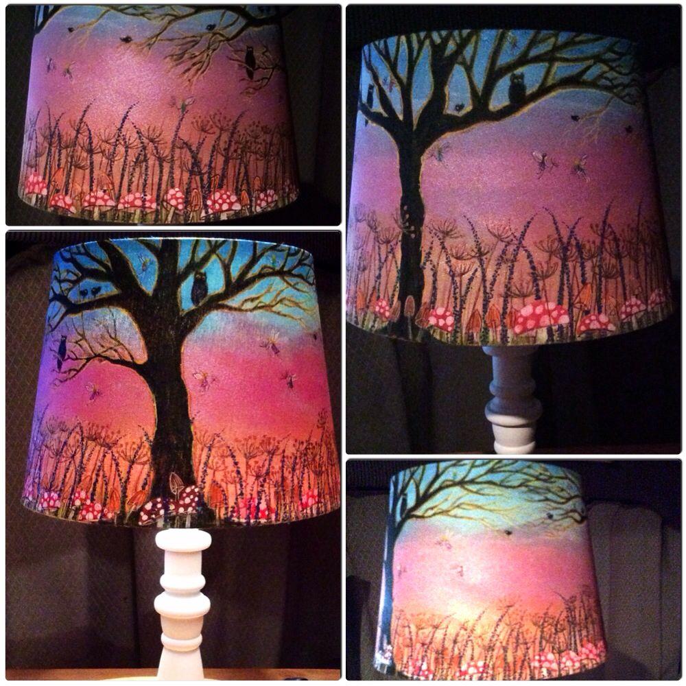 Original Hand Painted Lampshade Painting Lamp Shades Upcycle Lamp Paint Shades