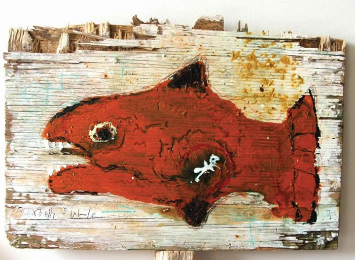 """""""Belly of the Whale"""" by tesuque reservation flea market artist Kelly Moore….new art every monday at  www.kellymoore.net"""