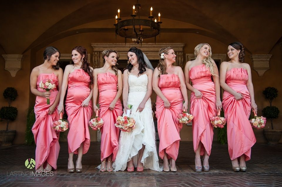 Coral long satin bridesmaids dresses with ruffled sleeveless top and ...