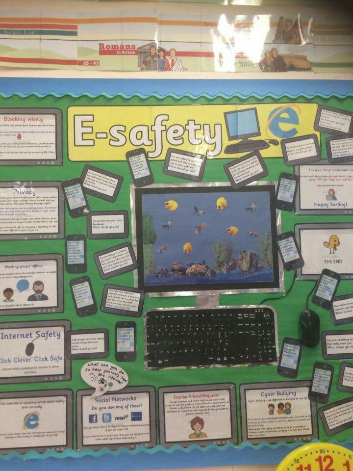 Esafety display Ict display, Technology classroom decor