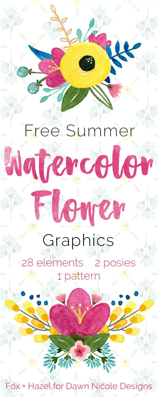 Free Summer Watercolor Flower Graphics | Art | Pinterest ...