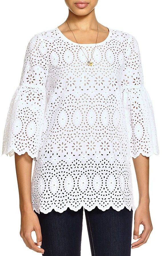 1607fb31bc Love this white eyelet top. Perfect paired with jeans or a skirt. Scotch &  Soda Embroidered Eyelet Top