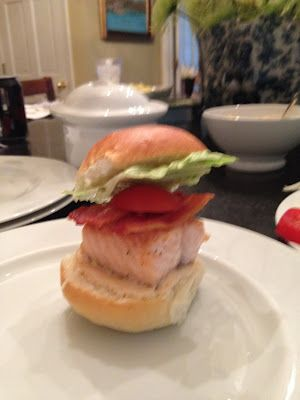 Salmon BLT Sliders with chipotle mayo. SO DELICIOUS and takes 20 minutes. So easy but people will think you are awesome.