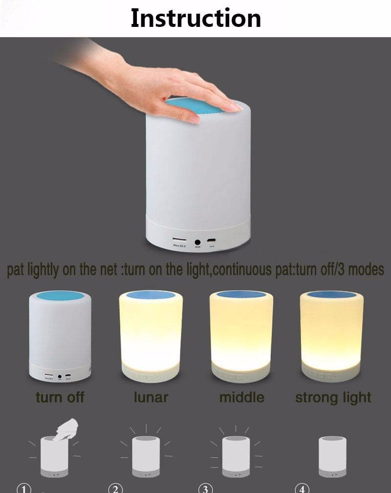 Bluetooth Speaker Touch Lamp Night Light Portable Wireless Mood Led Music Player Touch Lamp Bluetooth Speaker Speaker