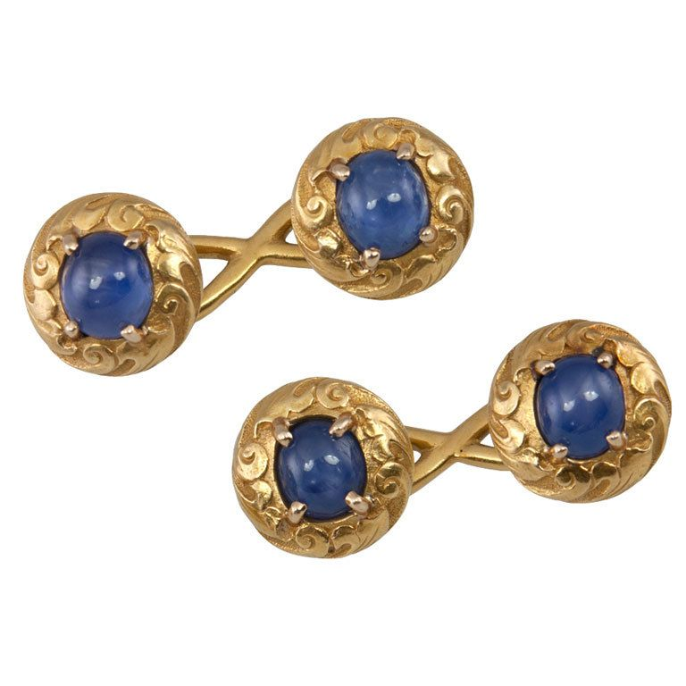 Tiffany co cufflinks star sapphire gold art and tiffany 18k yellow gold art nouveau double sided star sapphire cufflinks signed tiffany co sciox Image collections