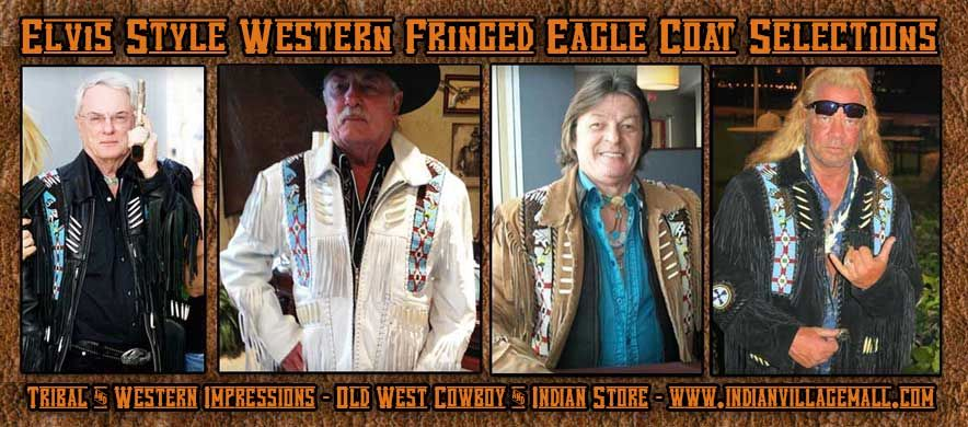 Elvis Style Western Fringed Eagle Coat -Butter Soft Lambskin or Rich Top Gain Suedes - Black- White- Brown from Tribal And Western Impressions-Old West Cowboy And Indain Store - www.indianvillagemall.coms