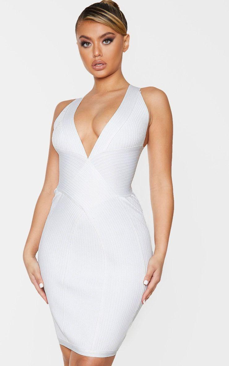 White Plunge Bandage Midi Dress In 2020 Bandage Midi Dress Midi Dress White Midi Dress