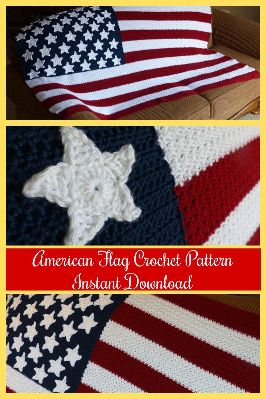 American Flag Blanket Crochet Pattern #ad #Etsy #crochet #usaflag ...