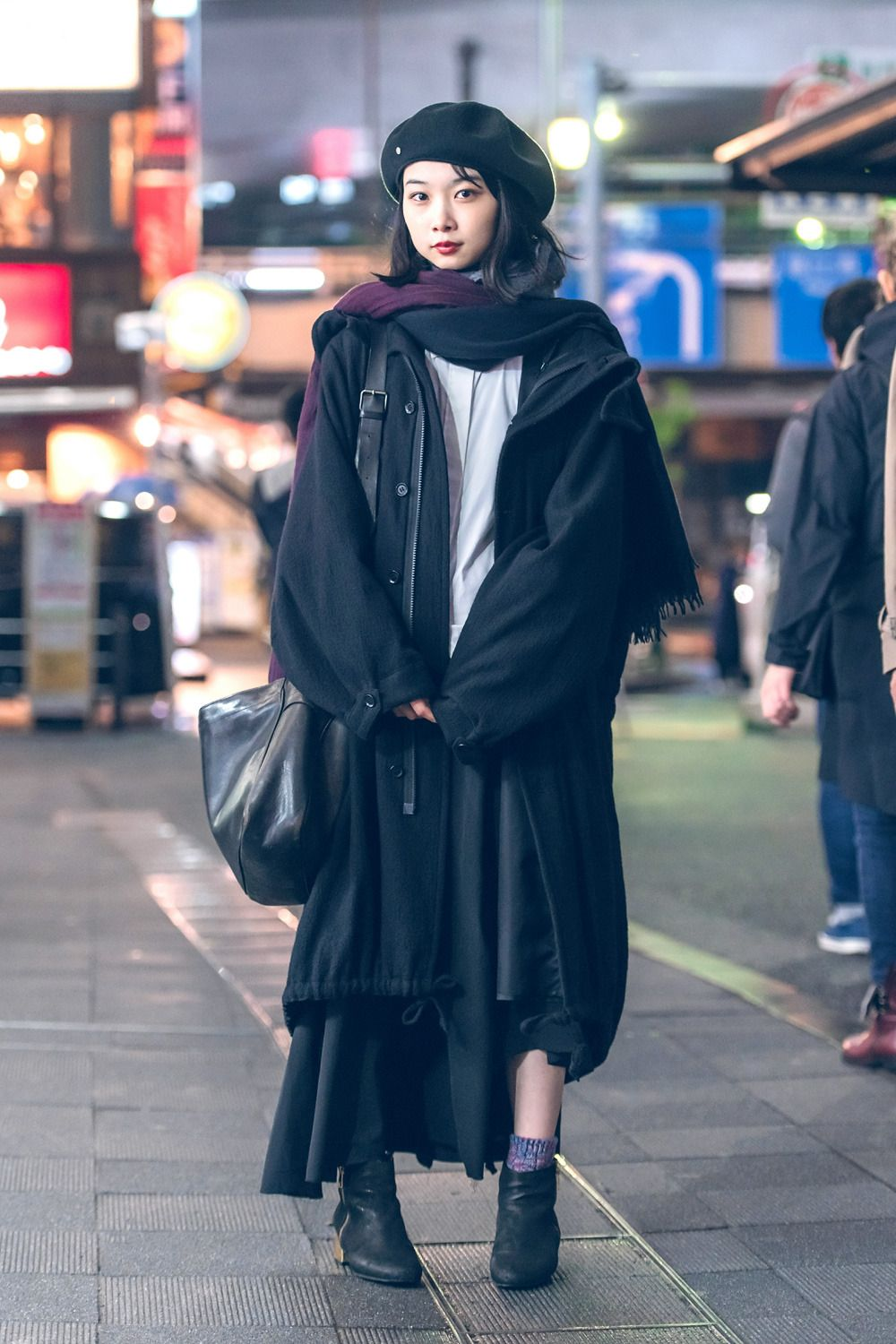 6db8f14bf tokyo-fashion: 20-year-old Japanese college student Mika wearing a  minimalist monochrome look on the street in Shibuya at night. Mika speaks  fluent English ...