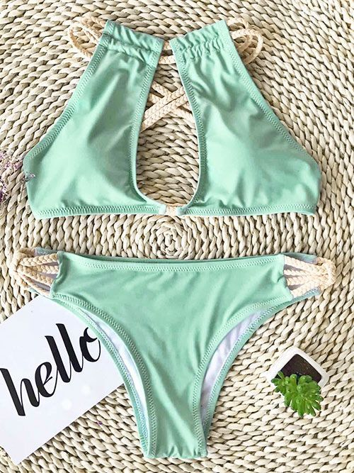 Live Life On The Beach Fresh Color Can Always Bring People Good Emotions Try This Bikini On And Keep Yourself A G Trajes De Bikini Bikini Verde Mayas Bikinis