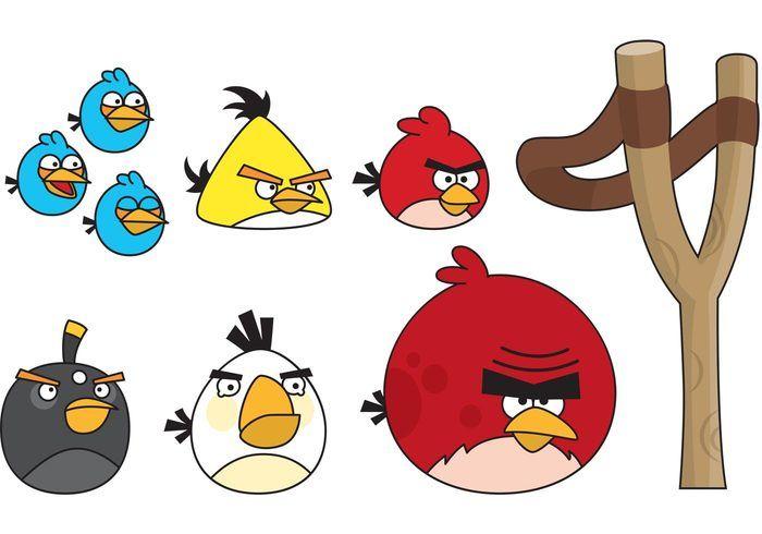 Vector Angry Birds With Slingshot Jpg 700 490 Bird Coloring Pages Red Angry Bird Angry Birds