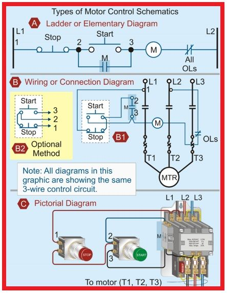 types of motor control schematics  electrical circuit