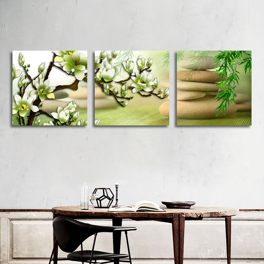 Green Magnolia Flower Canvas Art Posters And Prints Zen Bamboo Plants Painting Wall Pictures For Living Room Hom Flower Canvas Art Flower Canvas Plant Painting