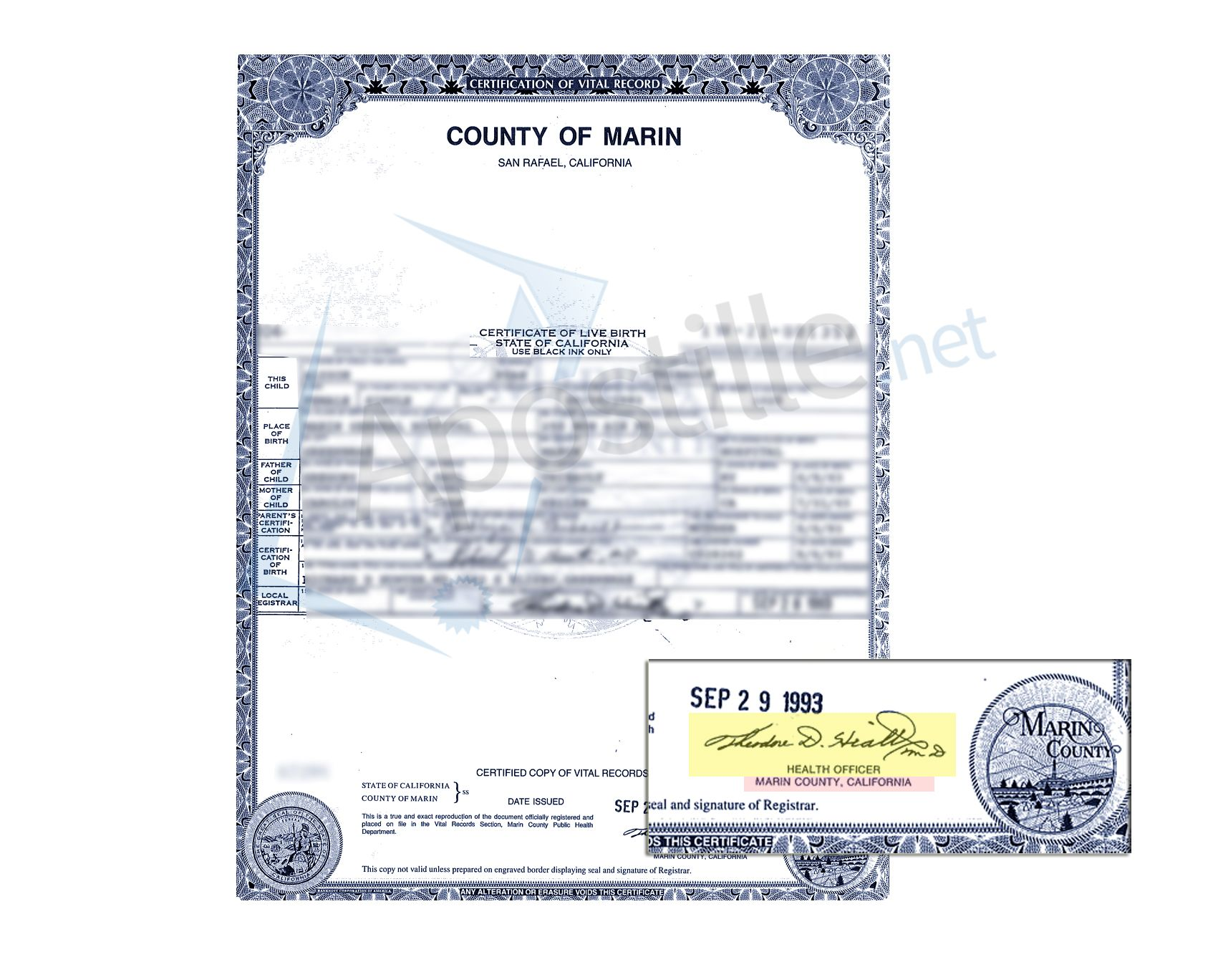 County of Marin Certificate of Birth ready for apostille