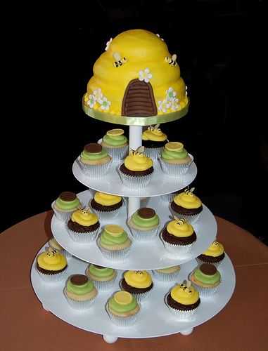 Brown And Green Bee Themed Baby Shower Cupcake Tower Great For Winnie The Pooh