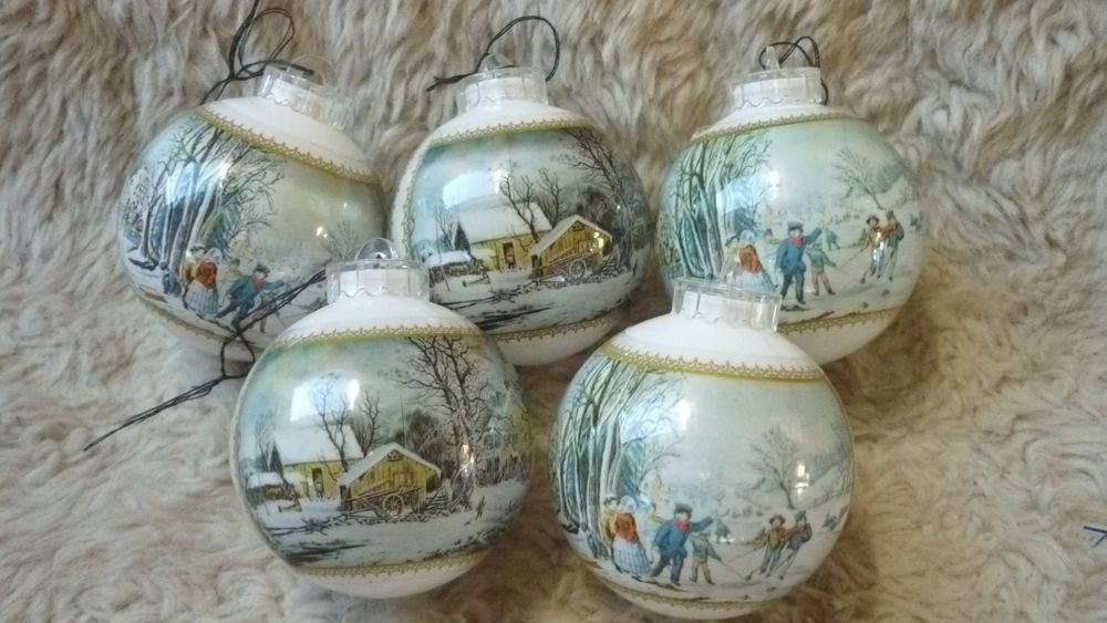 Ebay Christmas Baubles.Vintage Picture Scene Christmas Baubles Winter Snow Village