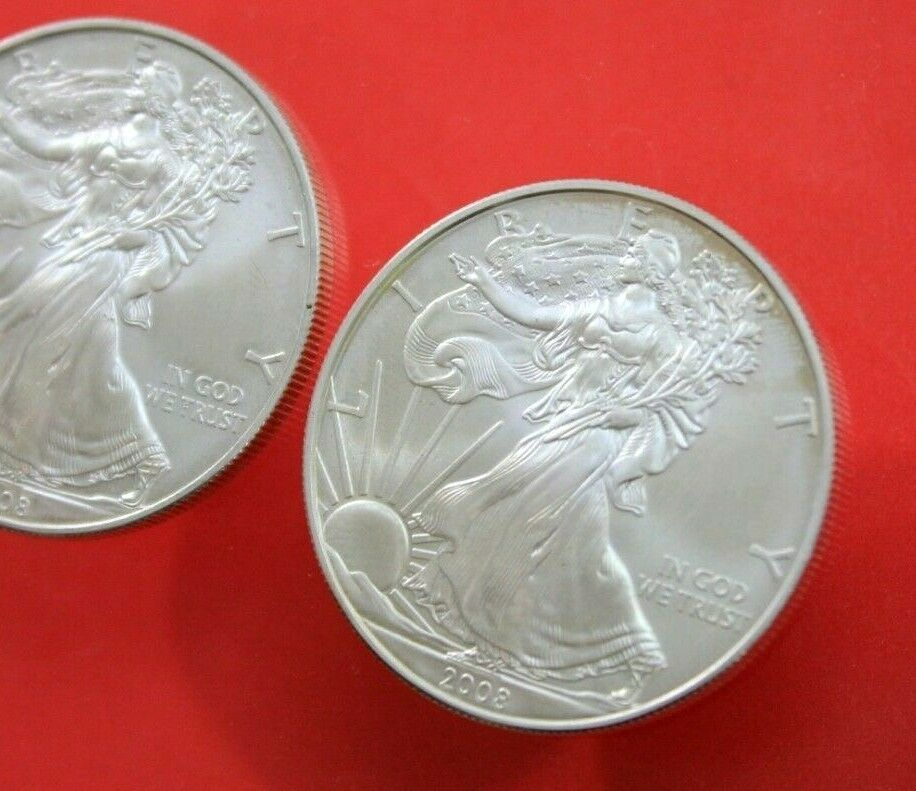 2 2008 Walking Liberty American Eagle 999 Fine Silver 1 Ounce Oz Coins Rounds Fine Silver Coins American Eagle