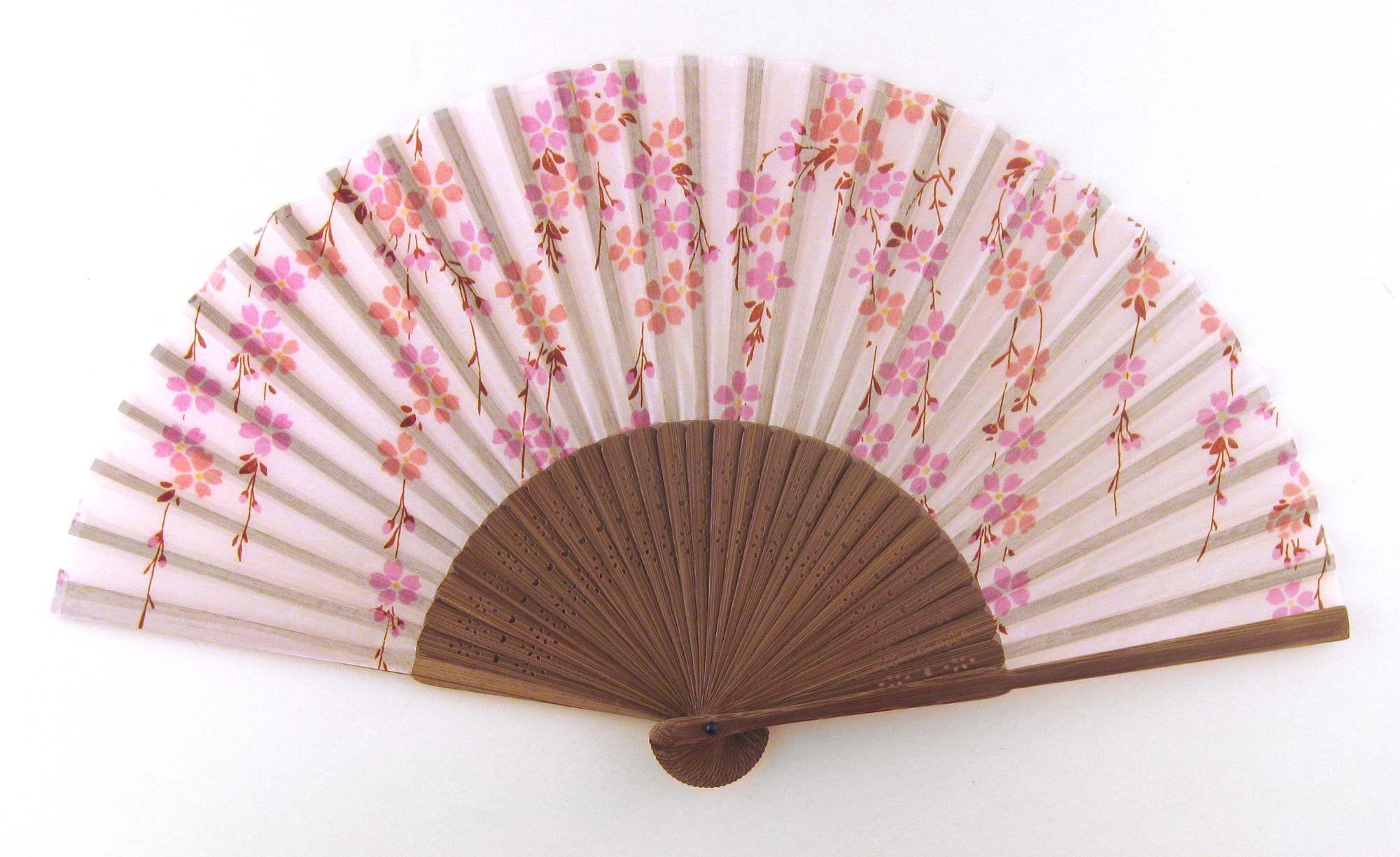 Japanese Handheld Folding Fan, Cherry Blossoms Cascade HF94 (Pink)