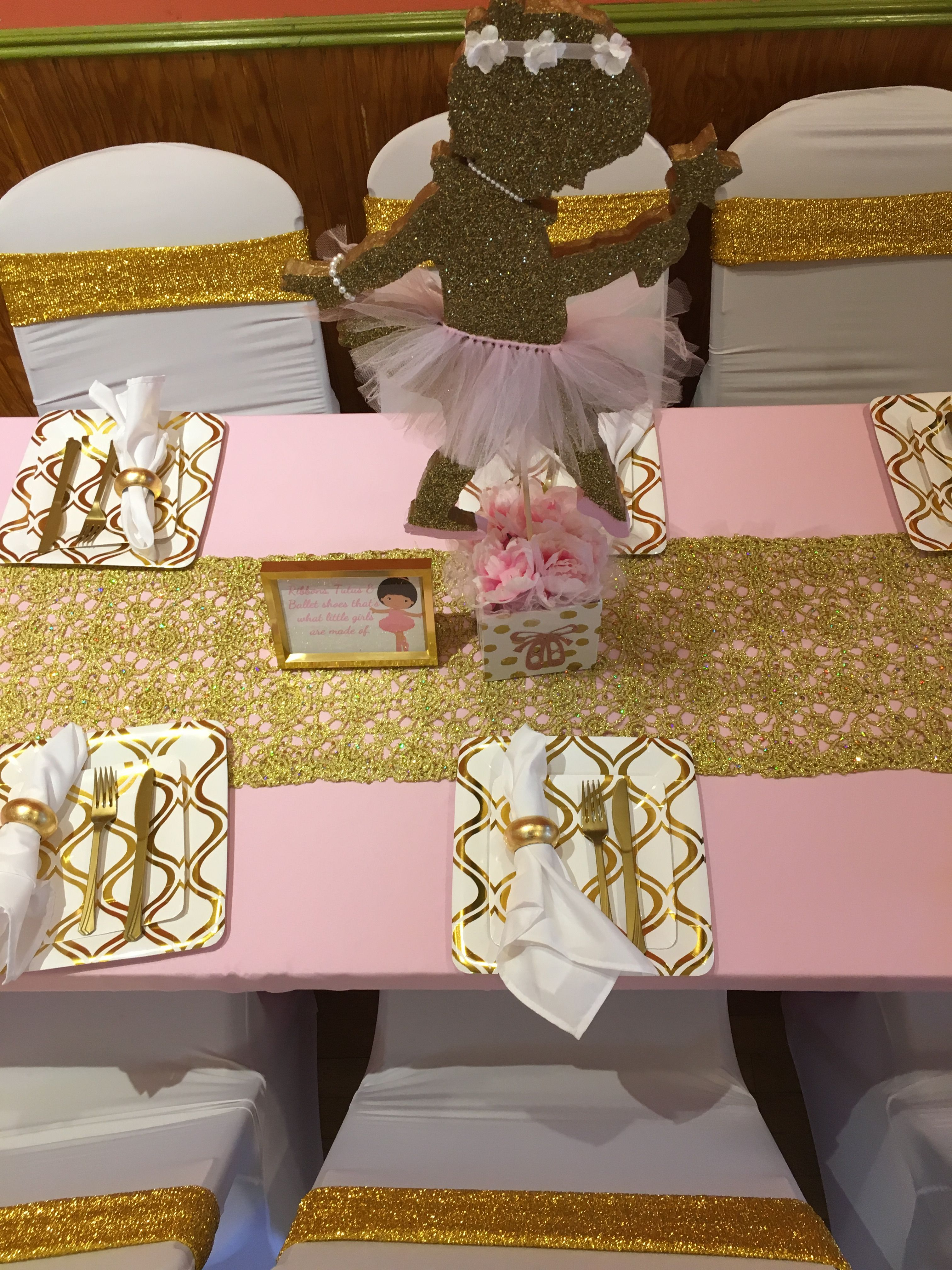 Pink Gold And White Table Setting For A Ballerina Themed Baby