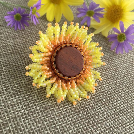 Sunflower Pin, Beaded Yellow Flower Brooch For Summer Or