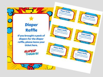 Superhero Baby Shower Diaper raffle Ticket Cards and sign, baby - raffle ticket