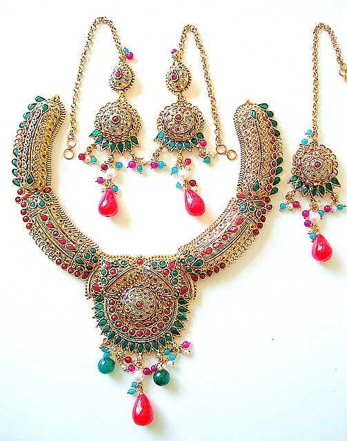 Indian necklace earring set #necklace #earset #diamondnecklace