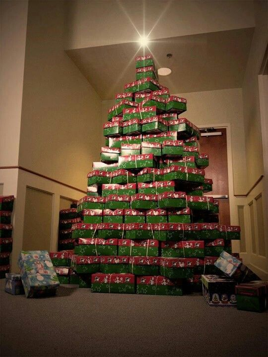 Christmas Tree formed of filled shoe boxes | operation shoe Box ...